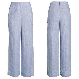 Theory Linen Blue Striped Wide Leg Carpenter Pant